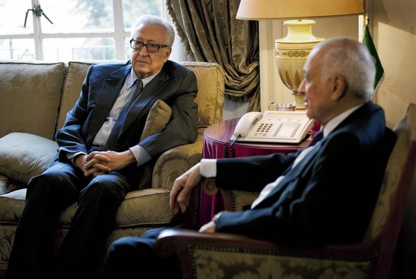 U.N. and Arab League envoy to Syria Lakhdar Brahimi, left, meets with Arab League Secretary-General Nabil Elaraby at Arab League headquarters in Cairo to discuss the Syrian conflict.
