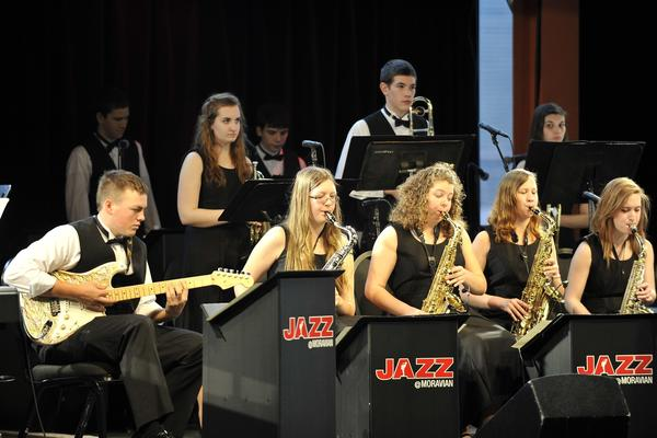 Kutztown High School's jazz band performs. Kutztown, Phillipsburg, Saucon Valley and Warren Hills High School competed in the preliminary round of the High School Jazz Band Showcase Sunday, February 17, 2013 in the Musikfest Cafe at the Artsquest SteelStacks Center in Bethlehem.