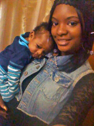 Janay McFarlane with her 3month old son, Jayden.