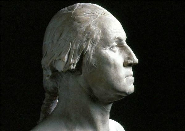 A bust of George Washington, created in 1785 by Jean-Antoine Houdon.