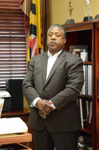 Kenneth A. Collins, the University of Maryland, Eastern Shore's public safety chief, answers questions during a news conference about the stabbing death of student Edmond A. St. Clair.