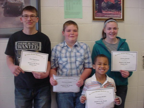 The students of the month for Waubay are, from left: Earl Seppanen, Conner Zubke, Traveion Neilan and Lauren Benike. Connor demonstrated excellence in leadership. He is in the fourth grade. Kindergartner Traveion was chosen because of his smile and positive attitude at school. Earl is a senior. He has applied for many scholarships and has earned a few already. Lauren, a seventh-grader, was chosen as a student of the month because of the help she provides to her fellow students.
