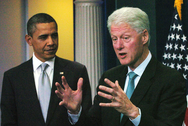 Former President Clinton speaks to reporters during a news conference with President Obama in the White House Briefing Room in Washington.