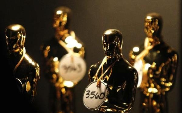 Oscar statuettes backstage at the 83rd Academy Awards.