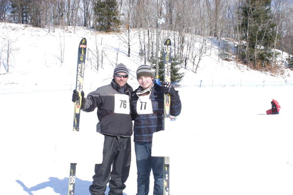 "Father and son, Paul and Lucas Muller participated in the bump jumping competition Saturday at the Winter Sports Park in Petoskey. ""I grew up doing this,"" said Paul."