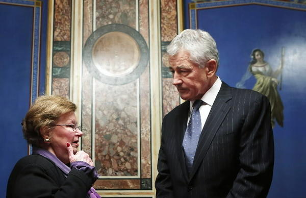 U.S. Senate Appropriations Committee Chairman Barbara Mikulski (D-MD) meets with President Barack Obama's nominee for secretary of defense and former U.S. Senator Chuck Hagel (R-NE) February 7, 2013 on Capitol Hill in Washington, DC.