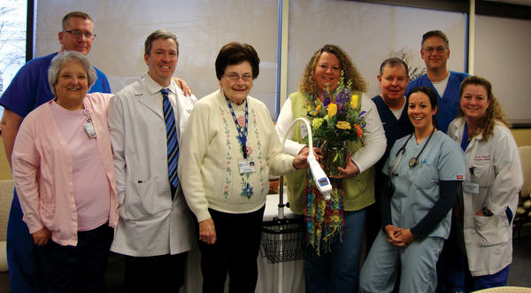 The Jefferson Memorial Hospital Auxiliary recently purchased an AccuVein AV300 for the hospital's emergency department in Ranson, W.Va. Shown presenting and receiving the AccuVein equipment, from left, are Rodney Jenkins, RN; Diane Liebeskind, RN; Dr. Cameron Cushing; Nancy Morgan, auxiliary president; Denise Carter, RN; Jeff Jeffries, RN; Dr. Gregory Allen; Lori Doozan, NP; and Dr. Marney Treese.