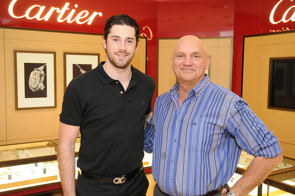 Celeb-spotting around South Florida - Erik Gudbranson, player with the Florida Panthers, and Peter Lahr, Director of Operations for Angelo Elia Restaurant Group