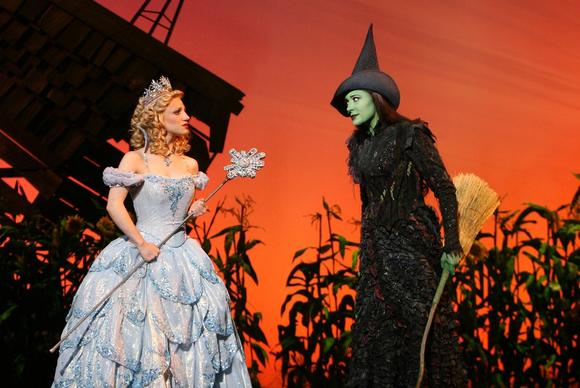 "Annaleigh Ashford as Glinda and Dee Roscioli as Elphaba in the Chicago production of ""Wicked"" in 2009."