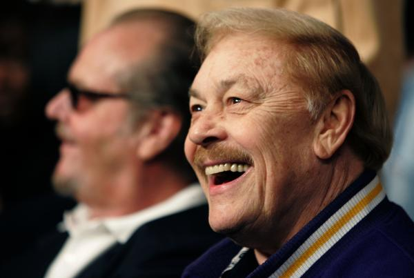 Lakers owner Jerry Buss, right, with actor Jack Nicholson, a regular at Lakers games.