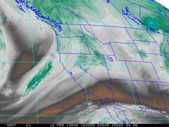 A satellite image shows water vapor above the Western U.S. on Feb. 18, 2013.
