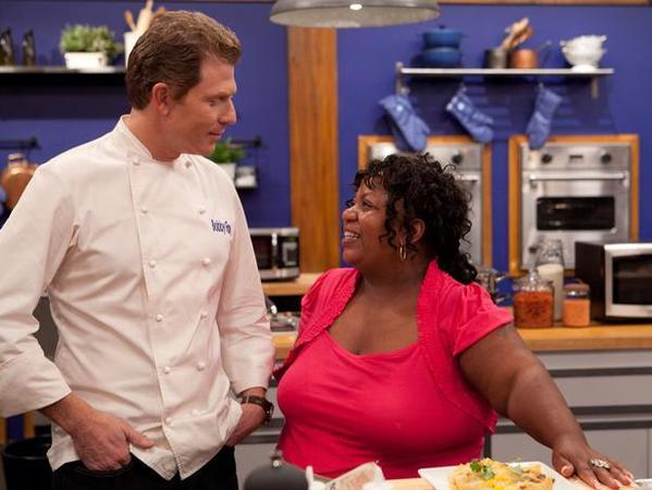 "Bobby Flay and Carla Johnson on the fourth season of Food Network's ""Worst Cooks in America."""