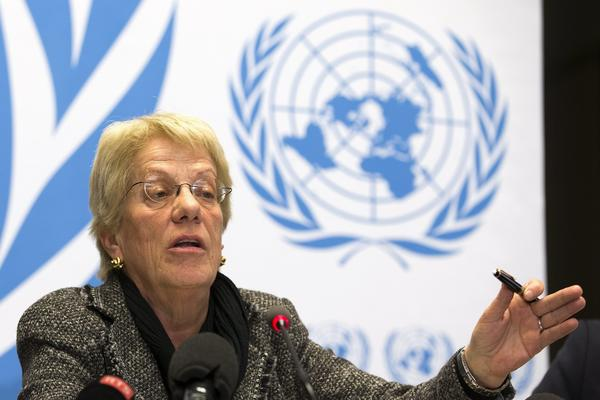 Carla del Ponte of Switzerland, a member of the United Nations Commission of Inquiry on Syria, discusses findings from the latest report on Syria during a press conference Monday at the European headquarters of the U.N. in Geneva.
