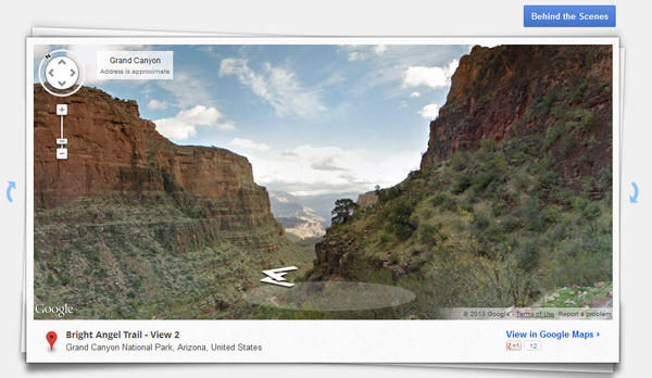 A view of the Bright Angel Trail in Grand Canyon National Park from Google Street View.
