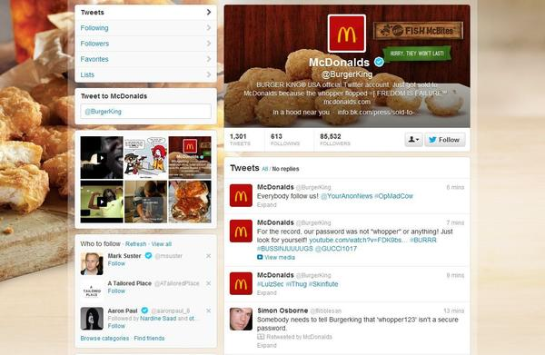 Burger King fell victim to a hack Monday and had its Twitter account altered to look as if it belonged to McDonald's.