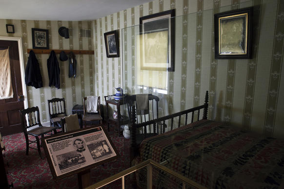 The bedroom in the Petersen House where Abraham Lincoln died after he was shot across the street at Ford's Theatre.