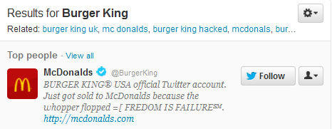 Twitter screen grab of a search for Burger King.