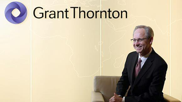Stephen Chipman, Grant Thornton CEO for the United States operation, relaxes in the lobby of his office in the Loop.