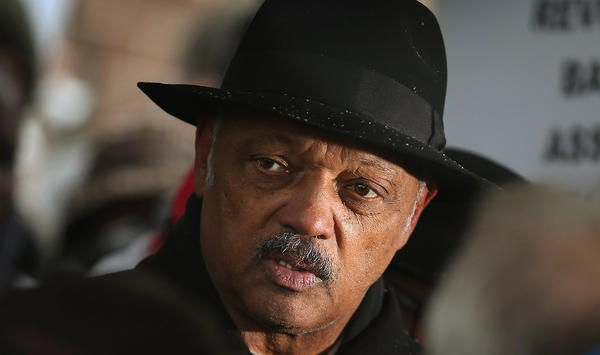 Rev. Jesse Jackson leads a march calling for an end to gun violence from Dr. Martin Luther King Jr. College Prep High School to nearby Harsh Park February 2, 2013 in Chicago, Illinois.