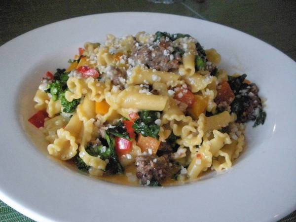 For this pasta with broccoli dish, skip spaghetti or noodles and go with a shaped pasta such as farfalle or rotini.