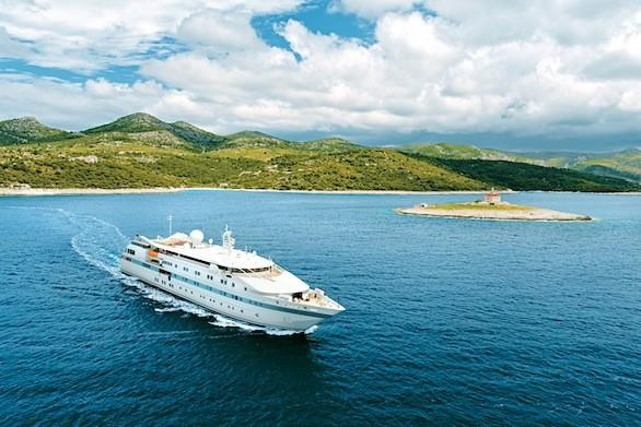 The Tere Moana, which carries just 90 passengers, passes the island of Hvar, Croatia, on a European cruise.