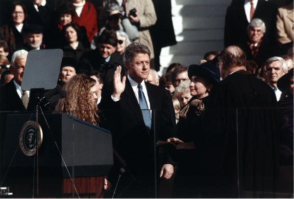 "William Jefferson Clinton takes the oath of office as 42nd president of the United States from Chief Justice William H. Rehnquist on Jan. 20, 1993. <a href=""http://www.youtube.com/watch?v=2SWjIPwm954&feature=share&list=SPB247883C1EB850D1"">Watch President Clinton's first inaugural address here</a>"