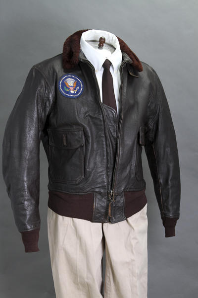 President Kennedy's Air Force One leather bomber jacket in 2012.