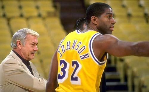 Jerry Buss and Magic Johnson.