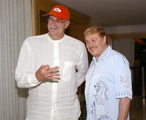 Coach Phil Jackson and owner Jerry Buss enjoy a Lakers victory party hosted by Buss and Jackson at the Mondrian Hotel in West Hollywood on June 16, 2002. The Lakers swept the New Jersey Nets in the NBA Finals.