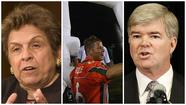 From left, UM President Donna Shalala, booster Nevin Shapiro and NCAA President Mark Emmert.