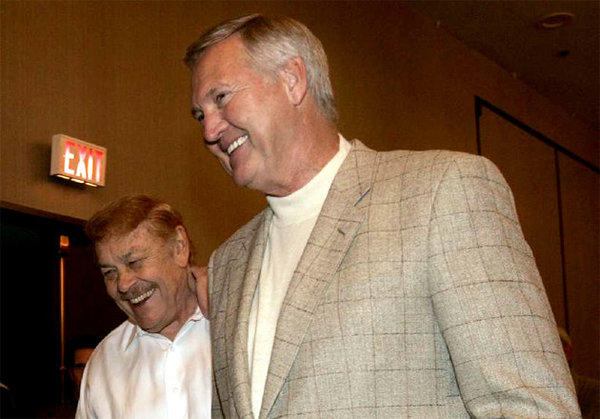 Jerry Buss, left, and Jerry West have a laugh before a news conference announcing Kobe Bryant as the NBA's most valuable player in 2008.
