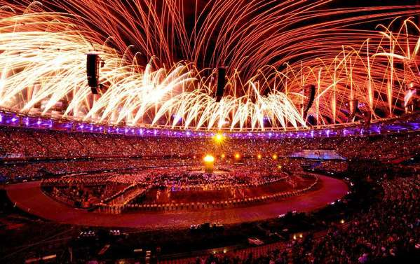 Fireworks light up Olympic Stadium during the opening ceremony of London 2012.