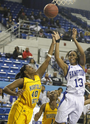 Hampton's Keiara Avant shoots over the Norfolk State's Batavia Owens and Recca Trice during the second half of Monday's game.
