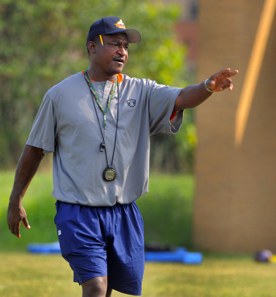 Morgan State football coach Donald Hill-Eley leads a practice last August.