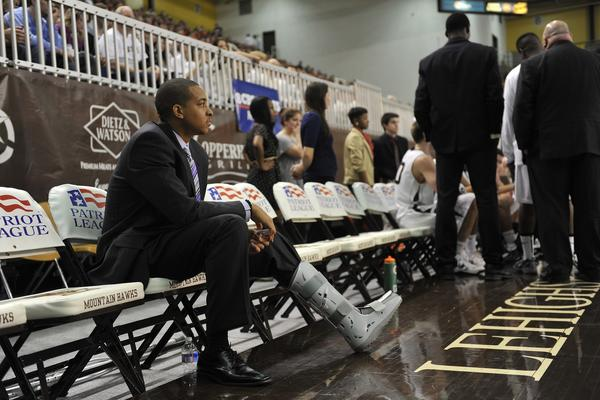 Lehigh's C.J. McCollum, out of the game with an injury looks on. The Lehigh University Mountain Hawks played against the Bucknell University Bison in patriot league basketball Monday, February 18, 2013 at Stabler Arena on the campus of Lehigh University in Bethlehem.
