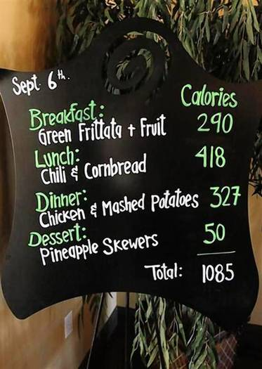 The daily menu board is set up in the dining room at the Biggest Loser Resort in Ivins