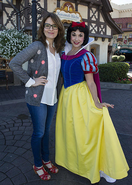 Tina Fey poses Feb. 18, 2013 with Snow White in the Germany pavilion at Epcot at Walt Disney World.