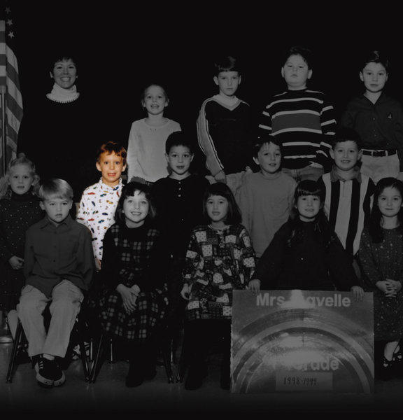 Adam Lanza, second row, second from left, is pictured with his first grade class at Sandy Hook Elementary School from the 1998-1999 school year.