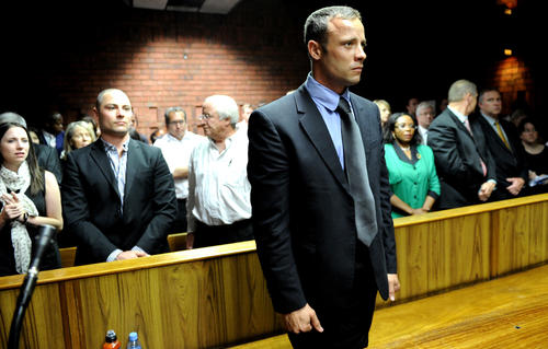 South African Olympic sprinter Oscar Pistorius appears Feb. 19, 2013 at the Magistrate Court in Pretoria.