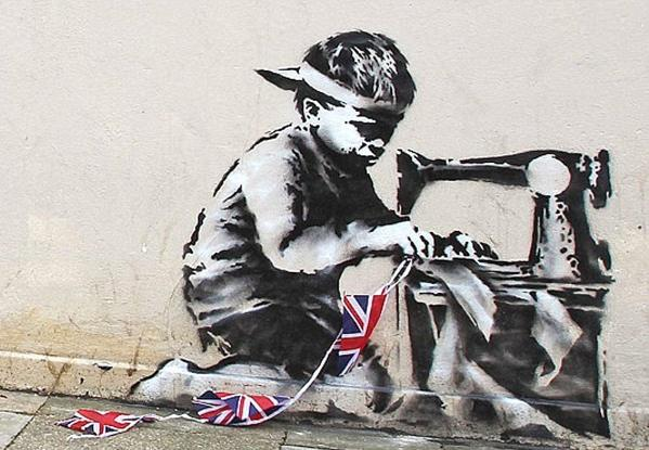 """Banksy Slave Labor (Bunting Boy). London 2012"" is listed for for $500,000 to $700,000 at the Fine Art Auctions Miami website."