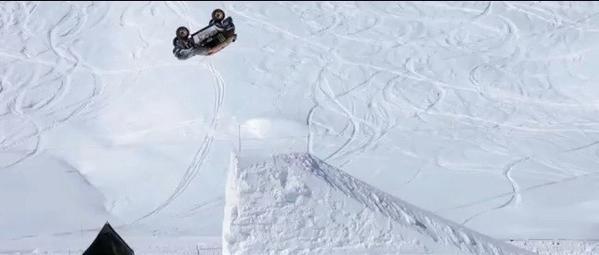 Guerlain Chicherit back-flips a Mini at a winter sports resort in Tignes, France.