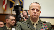 "<span class=""runtimeTopic""><span class=""runtimeTopic"">WASHINGTON</span></span> — Gen. John Allen, who was top commander in Afghanistan until Feb. 10, announced Tuesday that he is retiring from the Marine Corps due to his wife's chronic illness, turning down a White House offer to nominate him to be the supreme allied commander at NATO."