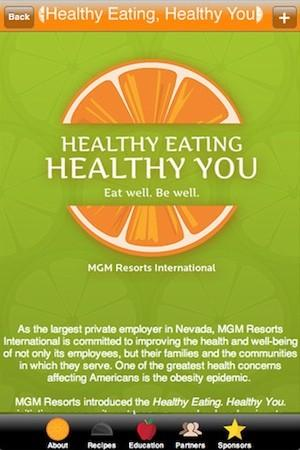 The Healthy Eating app features recipes and nutritional information about food served at Las Vegas restaurants operated by MGM International Resorts.