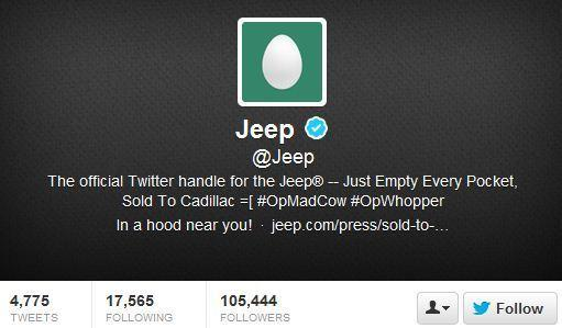 One day after Burger King's Twitter account was hijacked, Jeep fell victim to the same type of hack.
