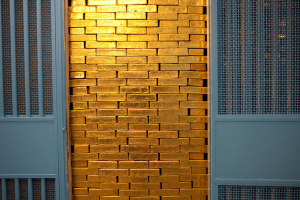 A stack of gold bars stored at the Federal Reserve Bank of New York. The New York Fed is home to an estimated 23% of the world's gold reserves.
