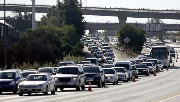Traffic backs up on the westbound 134 Freeway through Glendale.