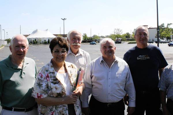 From left, Bill Dillon, Mary Ann Naccarato, Ron Larson, Ald. James Brookman, Ray Bochat and Ludwik Kaplon stand in front of the Lions Gate Pavilion last September at Fountain Blue banquet hall in Des Plaines.