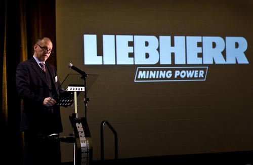 Karl Joachim Janka Pres. of Liebherr Newport News during this mornings meeting with city and other biz leaders at the Marriott.  Virginia Commerce Sec. Jim Cheng, Mayor McKinley L. Price of         Newport News and Karl Joachim Janka Pres. of Liebherr Newport News had an announcement of a business expansion at Liebherr Newport News manufacturing of $45.4 million and 174 new jobs at the Marriott today.