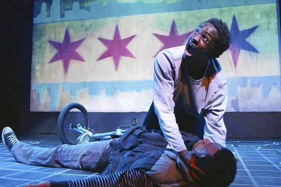 "Shavac Prakash and  Scott Baity, Jr. in ""Crime Scene: A Chicago Anthology."""