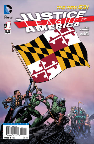 Maryland flag on the cover of a Justice League of America comic book.